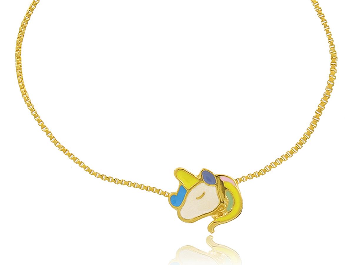 Pulseira Infantil Unicórnio Dourado Duquesa Semi joias