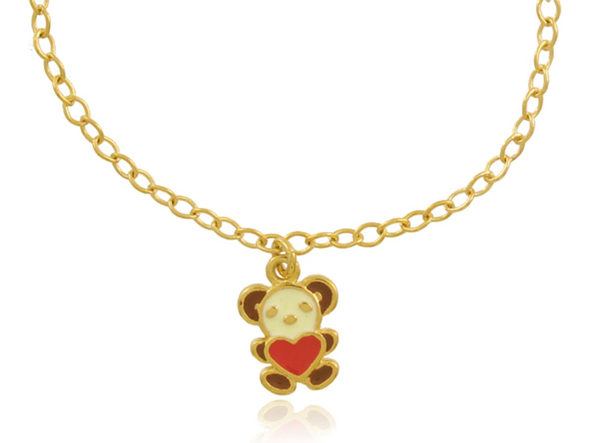 Pulseira Infantil Urso Dourada Duquesa Semi joias