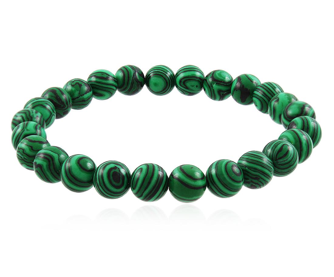 Pulseira Masculina Bolinha 8mm Verde Pedra Malaquita Duque