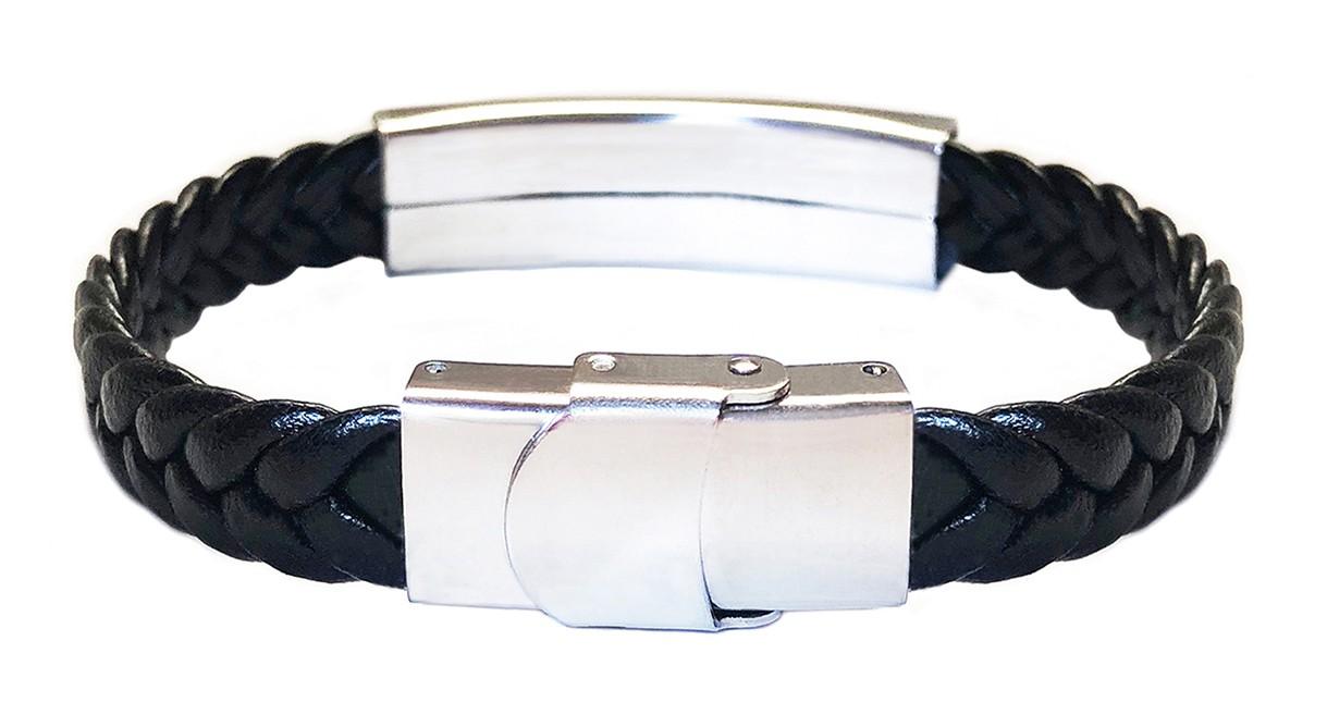 Pulseira Masculina Bracelete Trançado Aço Inox Couro Duque