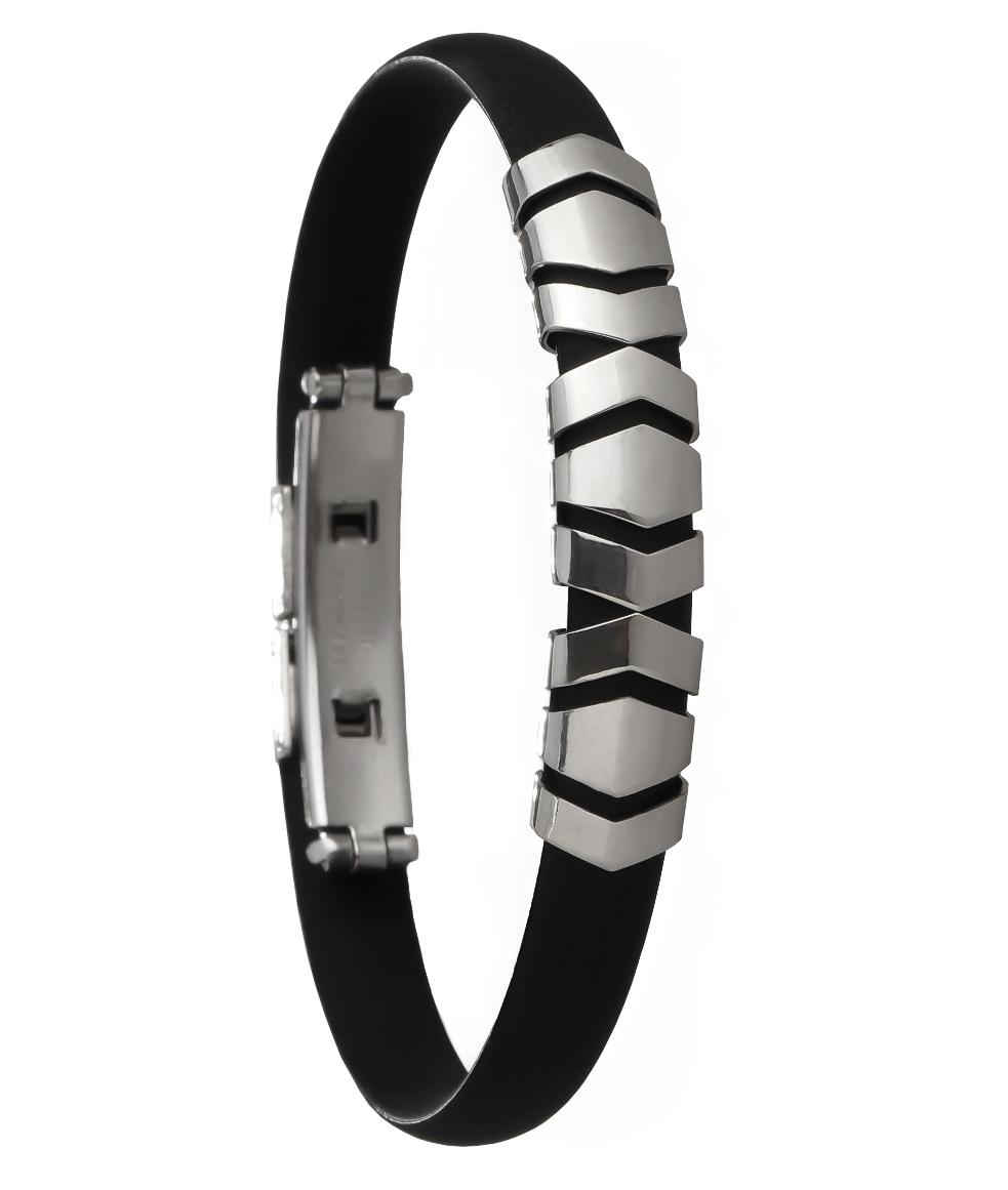 Pulseira Masculina Bracelete Fino Setas Aço e Silicone Duque