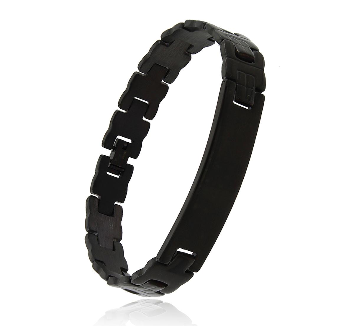 Pulseira Masculina Bracelete Modelo Relógio Aço Preto Duque