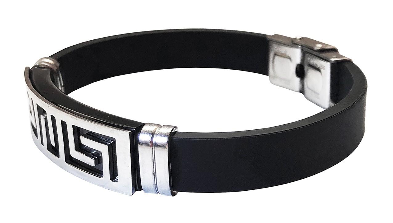 Pulseira Masculina Bracelete Ondas Aço Silicone Duque
