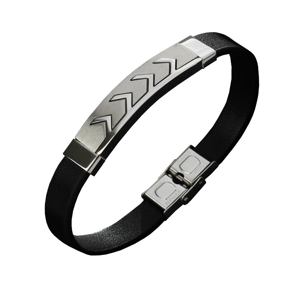 Pulseira Masculina Bracelete Setas Aço Inox Couro Duque