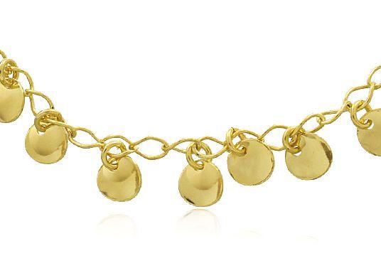 Pulseira Pingente Círculos Bola Dourado Duquesa Semi joias