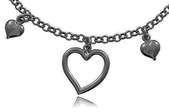 Pulseira Pingentes Coração Negro Duquesa Semi joias