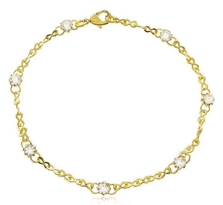 Pulseira Pontos de Luz Zircônia Dourado Duquesa Semi joias