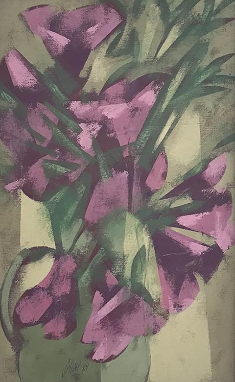 Carlos Scliar - Flores Roxas, 1984