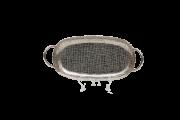 Bandeja Oval Com Alca Metal Polido Martelado 40Cmx18Cm