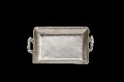 Bandeja Retangular Com Alca Metal Polido Martelado 43Cmx25Cm