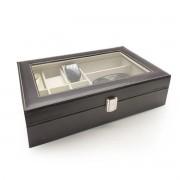Caixa Para 6 Relógios Com Porta Treco Couro Eco