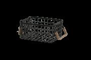 Cesta Metal Retangular Preta 15X30X23Cm Com Alca Detalhe Sizal