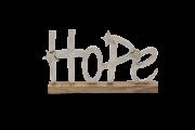 Enfeita Palavra Hope  Em Metal Bruto Com Base 18X30Cm Wood
