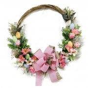 Guirlanda Decorativa de Pascoa Rosas 50 Cm