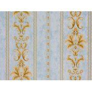 Papel De Parede Arabesco Classico Azul Claro E Ambar - 87083