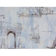 Papel De Parede Liso Pontos Turisticos França Azul - 678003