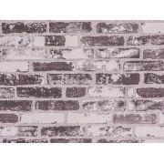 Papel De Parede Liso Tijolo Cinza Branco E Chumbo - 371502