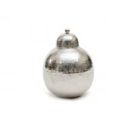Potiche Metal Polido Martelado Com Detalhe 35Cm