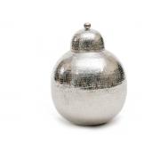 Potiche Metal Polido Martelado Com Detalhe 40Cm