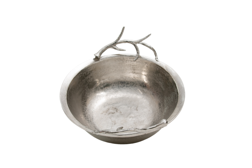 Bacia Metal Bruto Detalhe Galho 45X12,5Cm