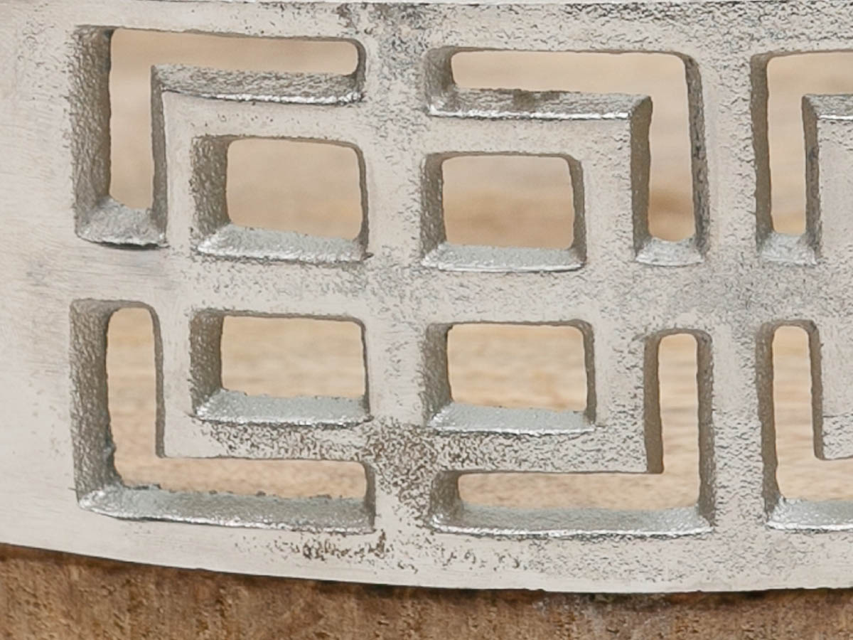 Bandeja Redonda Base Madeira Com Metal Polido 43X8,5Cm