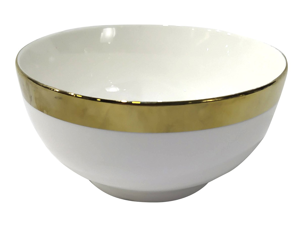BOWL  ELEGANCE CER BRANCO C/FILETE DOUR 13,5X6,5CM
