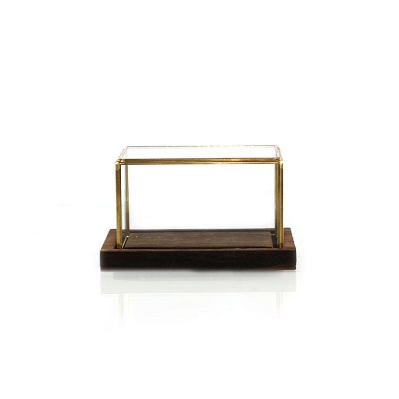 Caixa de Vidro Quadrada com Base em Madeira - 17,5 x 10,5 cm - 6377