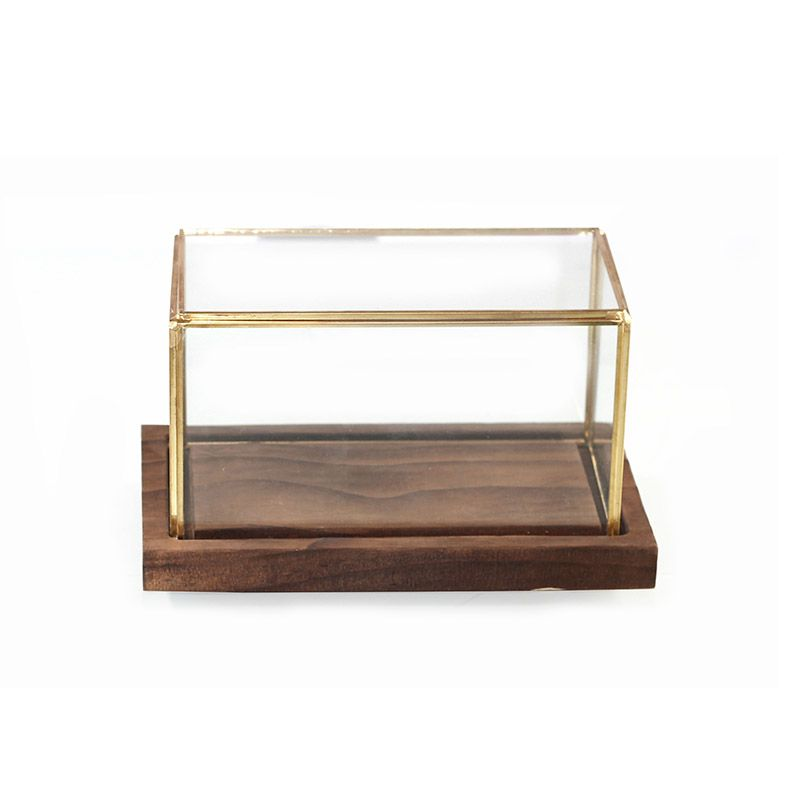Caixa de Vidro Quadrada com Base em Madeira - 22 x 13,5 x 12 cm - 6378