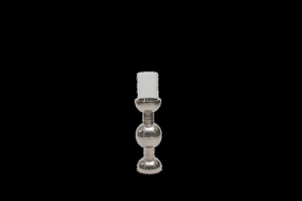 Coluna Porta Vela Metal Polido Martelado Com Cupula De Vidro 75X26Cm