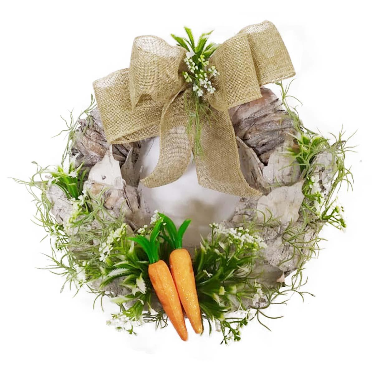 Guirlanda Decorativa de Pascoa Com Casca e Cenouras 30 Cm