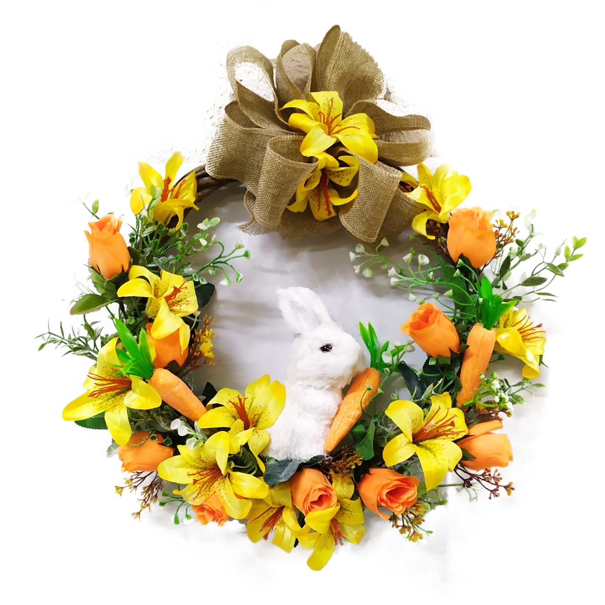 Guirlanda Decorativa de Pascoa Lírios e Rosas no Cipo 30 Cm