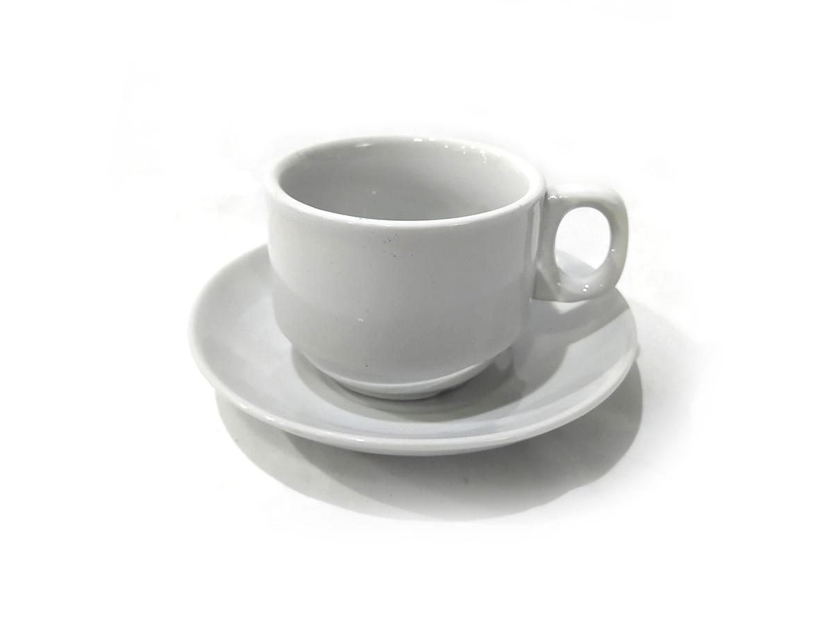 JOGO CAFE XICARAS C/PIRES DE PORCELANA BRANCA 12PC