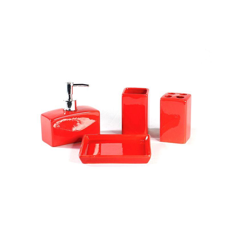 Jogo de Banheiro em Cerâmica Lisa Cores - 4 Peças - 5511