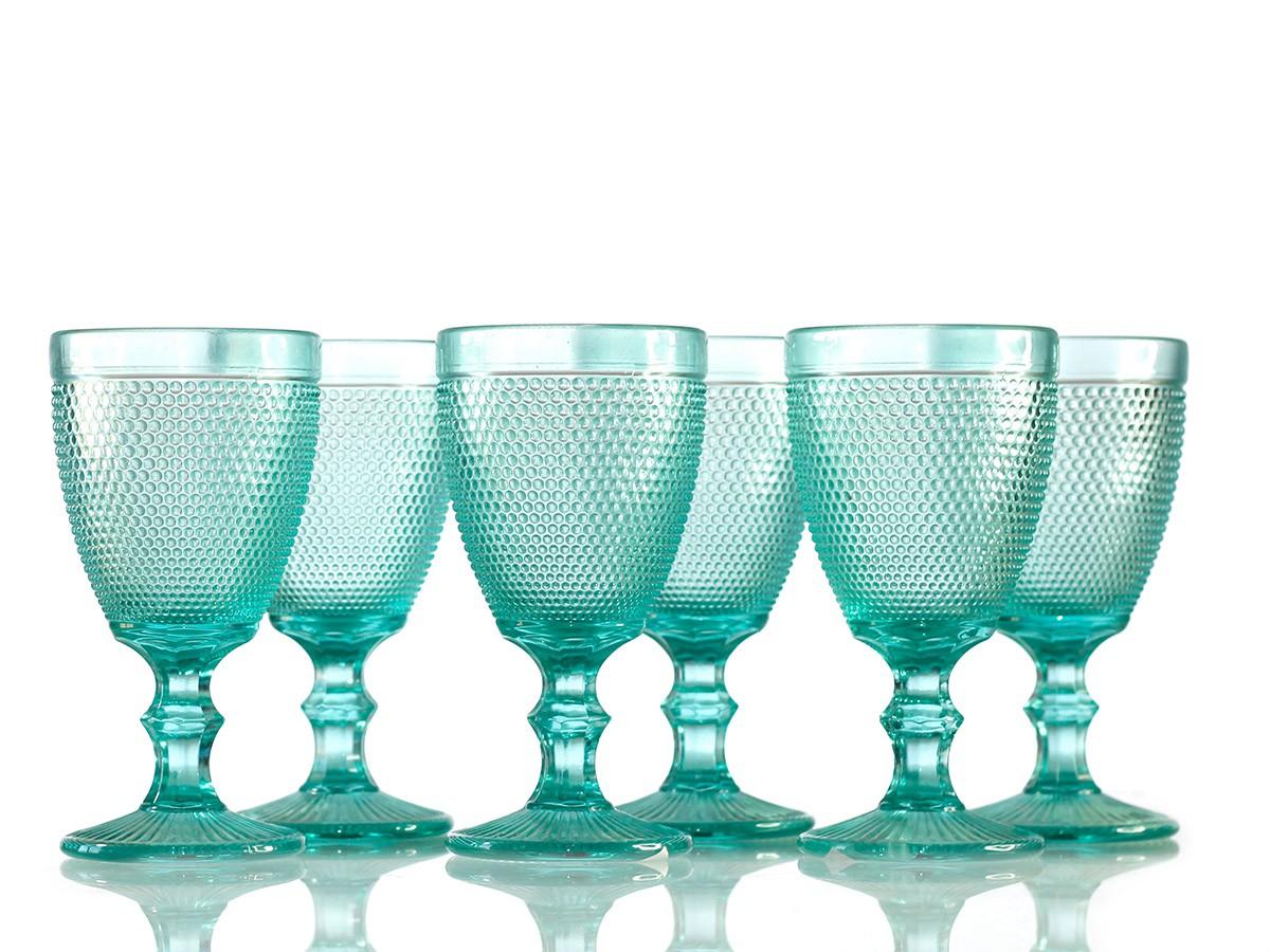 Jogo de Taças de Vidro BolinhaAzul Tiffany - 8,8 x 17 cm