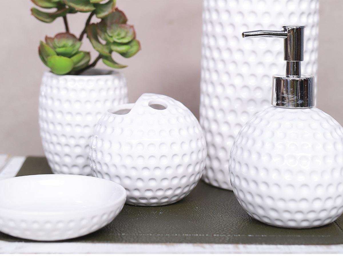 Jogo para Banheiro em Cerâmica Bolas - 4 Peças - Branco - 5519