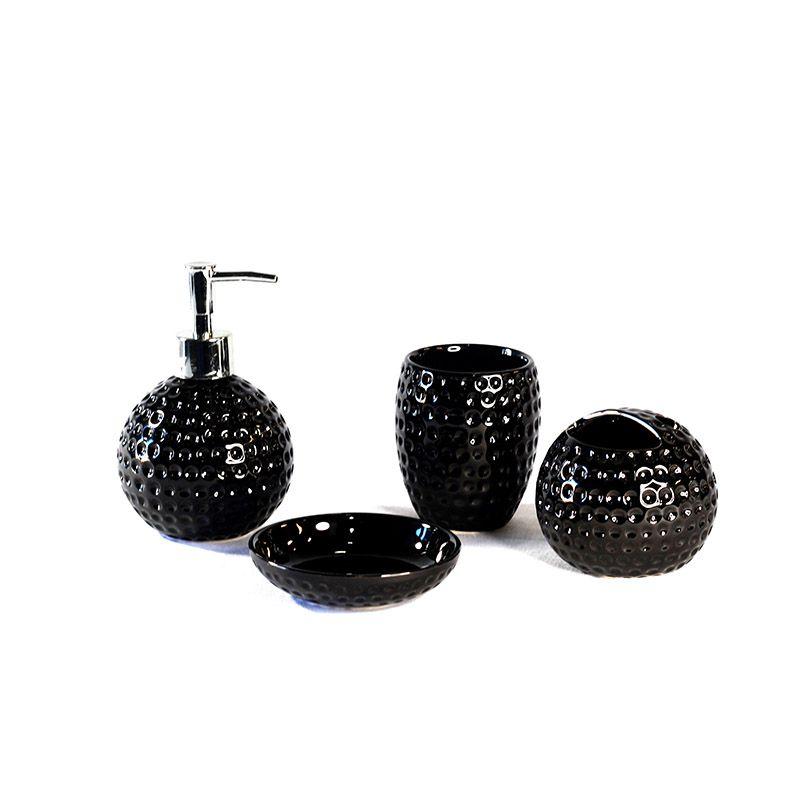 Jogo para Banheiro em Cerâmica Bolas - 4 Peças - Preto - 5520