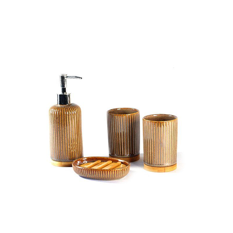 Jogo para Banheiro em Cerâmica com detalhes em Bambu - 4 Peças - 5524