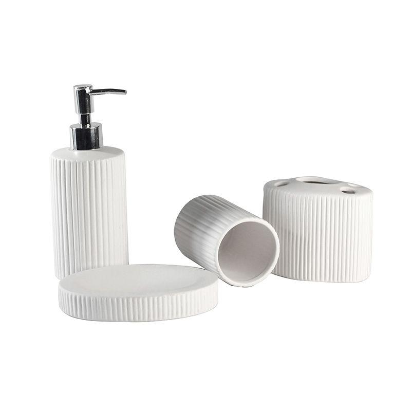 Jogo para Banheiro em Cerâmica Plissado - 4 Peças - Branco - 5512