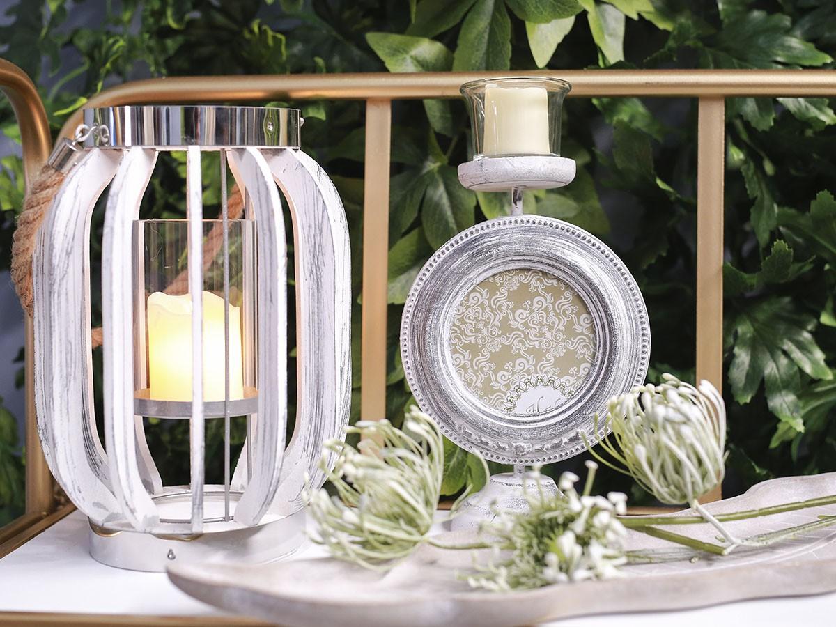 Lanterna Decorativa em Madeira e Corda - 10 x 21 cm - 5979