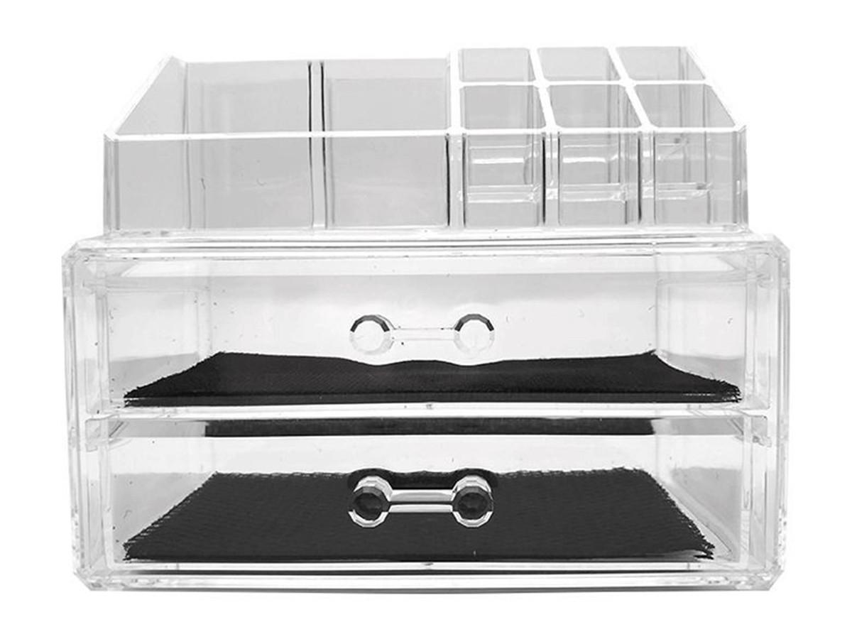 Organizador de cosméticos em acrílico com gaveta - 19x16x10cm