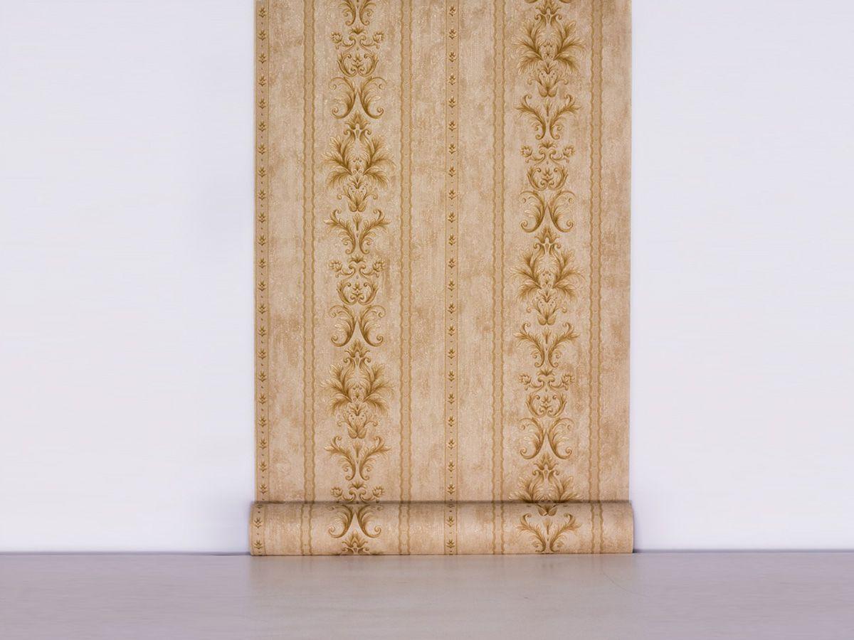 Papel De Parede Arabesco Classico Bege E Ambar - 87081