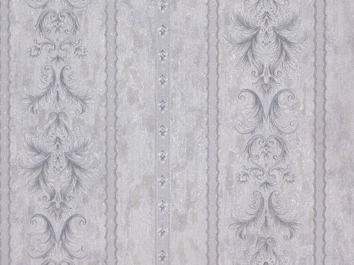 Papel De Parede Arabesco Classico Branco Gelo E Cinza - 87085