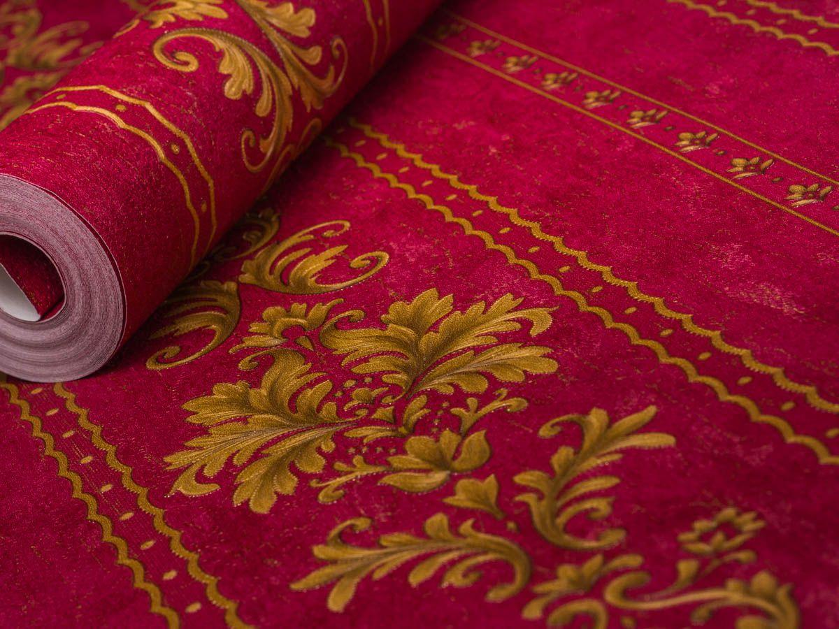 Papel De Parede Arabesco Classico Vermelho E Conhaque - 87087