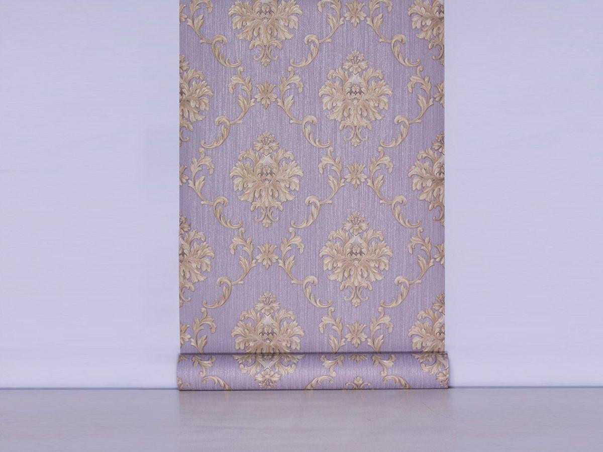 Papel De Parede Arabesco Escovado Cinza Acetinado E Marfim - 87127