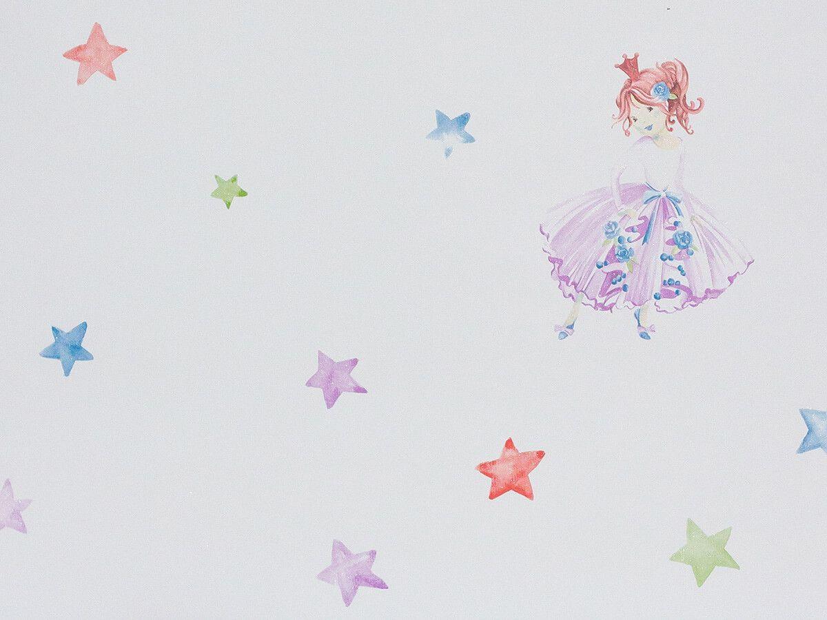 Papel De Parede Infantil Aquarela Branco Estrelas Princesa - 390605