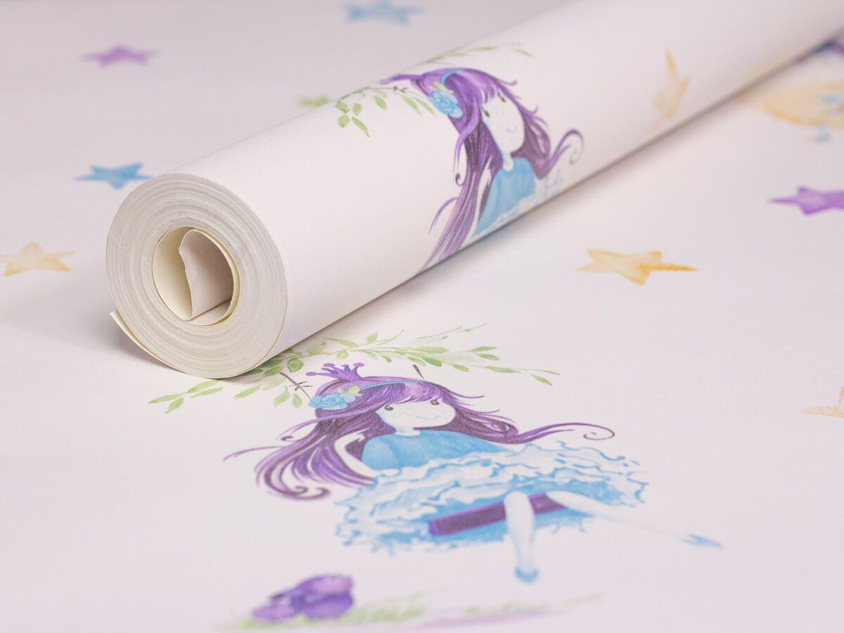 Papel De Parede Infantil Aquarela Branco Gelo Princesa - 390601