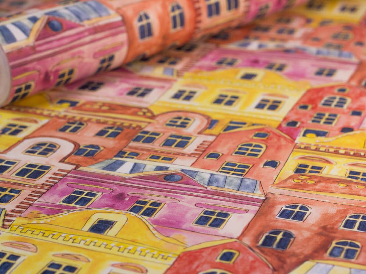 Papel De Parede Infantil Casas Aquarela Terracota - 390106