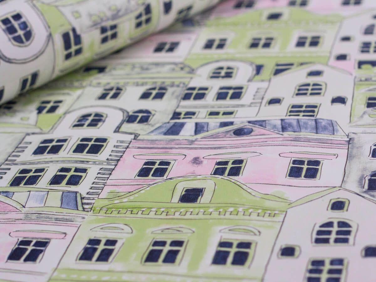 Papel De Parede Infantil Casas Aquarela Verde Menta - 390102