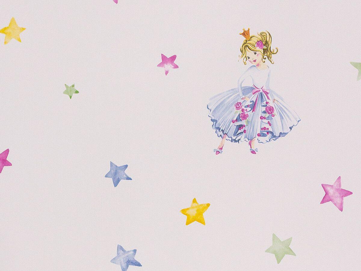 Papel De Parede Infantil Estrelas Branco Gelo Princesa - 390602