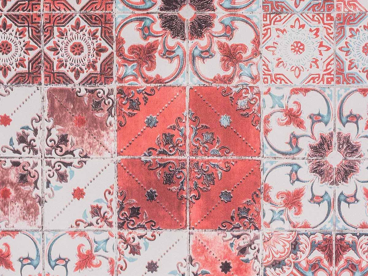 Papel De Parede Liso Azulejo Português Vermelho Bege E Branco - 372404
